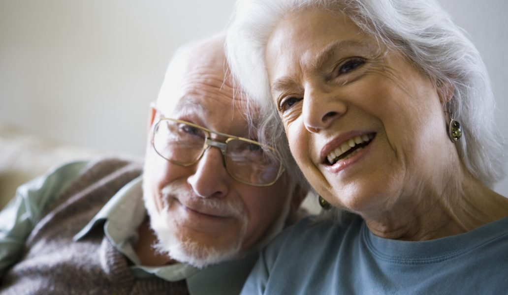 Close-up of a senior couple smiling